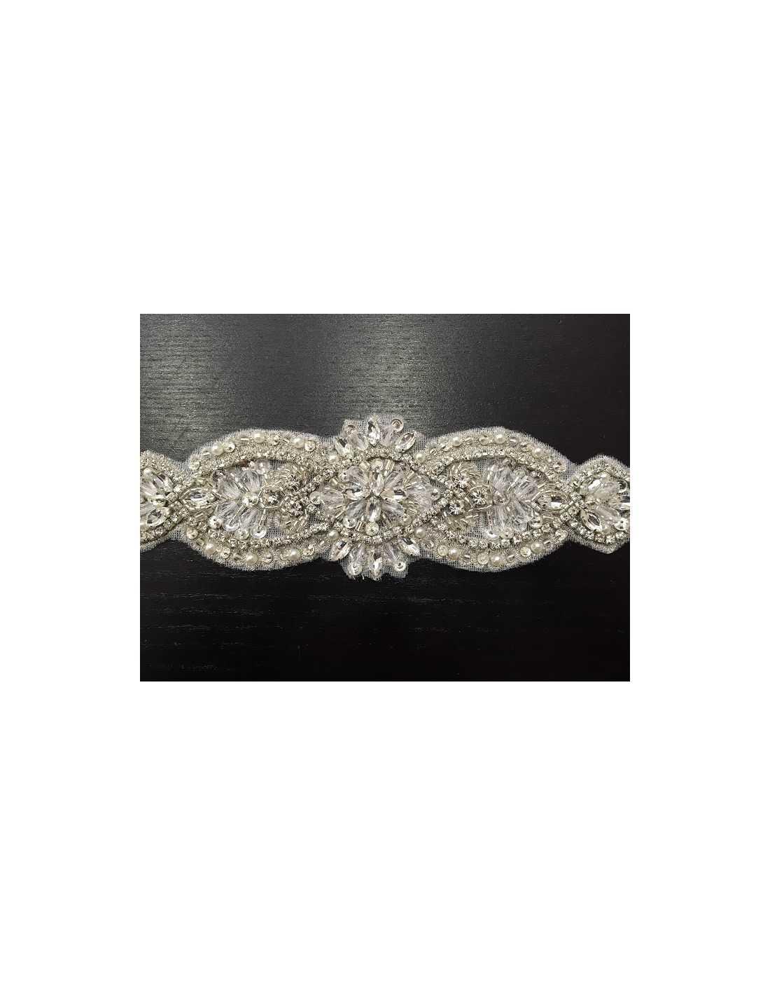 cinturón color plata con broche para vestido de novia. - sedka novias